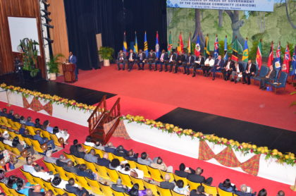 A section of those gathered for the opening ceremony of the 37th Regular meeting of the CARICOM Heads of Government