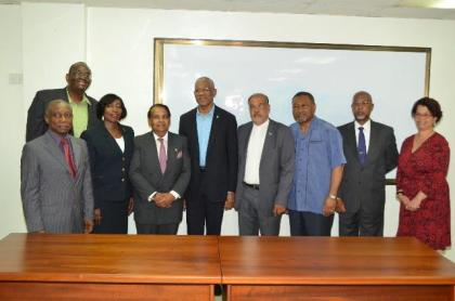 President David Granger, Minister of Foreign Affairs, Carl Greenidge and Director General of the Ministry of Foreign Affairs, Audrey Waddell (far right) with some of the new diplomats.