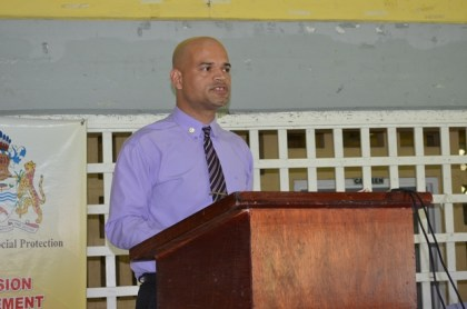 Diego Alphonso of the Men's Affairs Bureau making brief remarks at the launch of the football tournament