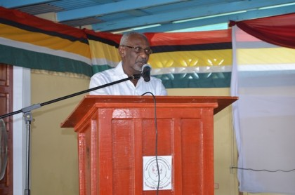 Minister within the Ministry of Social Protection Keith Scott delivering the feature address at the National Training Project for Youth Empowerment graduation ceremony at the Upper Corentyne Industrial Training Center