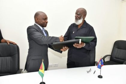 Guyana Foreign Affairs Minister, Carl Greenidge exchange signed agreement on trade and other matters with Belize Foreign Affairs Minister, Wilfred Elrington