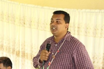 Region Two chairman, Devanand Ramdatt as he addresses the residents of Akawini