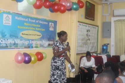 Minister within the Ministry of Education, Nicolette Henry delivering remarks at the graduation of the 6th Annual Heritage Awareness workshop participants