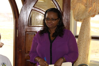Minister of Social Protection, Volda Lawrence  on a recent outreach exercise to Mahdia, Region 8