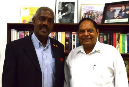 Prime Minister Moses Nagamootoo with Senator Chester Humphrey
