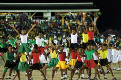 Students performing at Guyana's 50th anniversary celebrations at D'urban Park