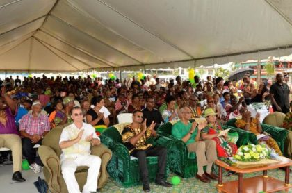 Regional officials, guests and residents, who came out in their numbers at the Ithaca Basketball Court for the Emancipation day celebrations.