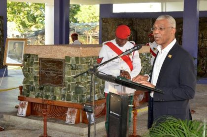 President David Granger delivering remarks at the memorial ceremony to mark the 31st death anniversary of Guyana's first Executive President, Linden Forbes Sampson Burnham