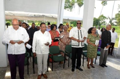 From left: Dr. Richard Van West Charles, former Opposition Leader, Mr. Robert Corbin, Minister of State, Mr. Joseph Harmon, Minister of Social Protection, Ms. Volda Lawrence and Minister of Communities, Mr. Ronald Bulkan among the attendees at this morning's ceremony at the Botanical Gardens