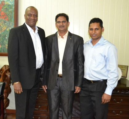 From L-R: Minister of State, Mr. Joseph Harmon, Director of The Energy and Resources Institute,  Dr. G. Rudra Rao and Mr. Shyam Nokta, Chief Representative for the Caribbean