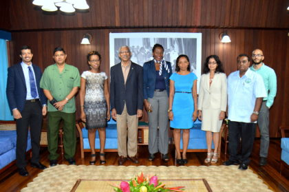 From left: Mr. Nikolaus Oudkerk, Mr. James Singh, Ms. Jenelle Christian, President David Granger, Ms. Ndibi Schwiers-Ceres, Mr. Vanessa Benn, Ms. Alona Sankar, Dr. Indarjit Ramdass and Mr. Damian Fernandes at the Ministry of the Presidency