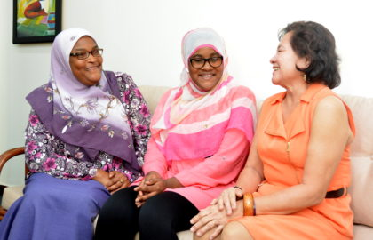 First Lady, Mrs. Sandra Granger, converses with CSEC Top Performer, Ms. Fatima Karim and her mother, Mrs. Khadijah Karim during a courtesy call paid to the First Lady at her office at State House