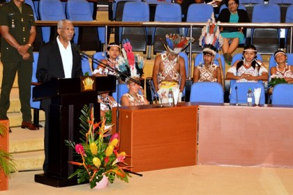 President David Granger delivering his address at Iwokrama's 20th anniversary celebrations at the Arthur Chung Convention Centre