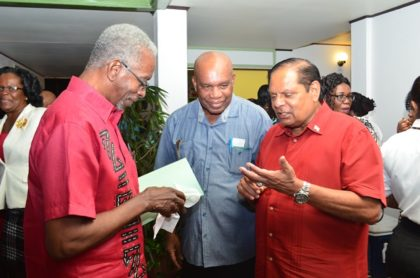 Prime Minister Nagamootoo shares a light moment with labour stakeholders following the opening ceremony of the Clerical and Commercial Workers Union conference