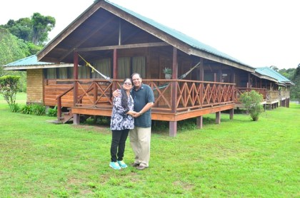 Prime Minister Moses Nagamootoo and his wife Sita at the Iwokrama International Centre for Rainforest Conservation and Development