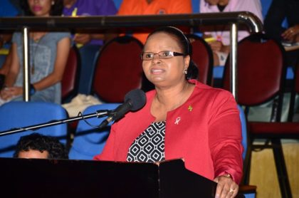 Minister of Social Protection, Volda Lawrence addressing the gathering at the National Toshaos Council Meeting 2016