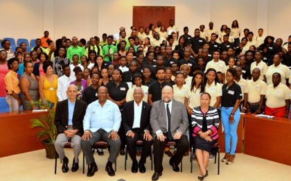 Seated from left- Minister of Communities, Mr. Ronald Bulkan, Minister of Finance, Mr. Winston Jordan, President David Granger, Ambassador Perry Holloway and Minister within the Ministry of Communities, Ms. Dawn Hastings-Williams and successful participants of the Sustainable Livelihood and Entrepreneurship Development (SLED) Initiative