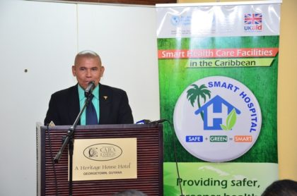 Minister of Public Health, Dr. George Norton delivering remarks at the launch of the Hospital Safety Index and Green Checklist course