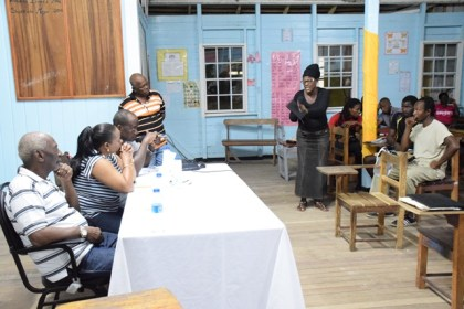 Juliet Atwell, a resident of Linden voicing her concerns to the ministerial team