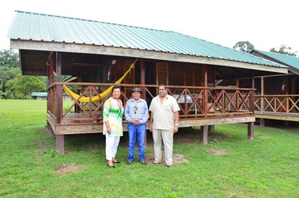 Commonwealth Secretary General, Baroness Patricia Scotland, Minister of Indigenous Peoples' Affairs Sydney Allicock  and Chief Executive Officer of Iwokrama Dr. Dane Gobin at the Iwokrama International Centre for Rainforest Conservation and Development