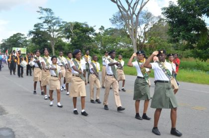 A Scout group participating in the youth rally