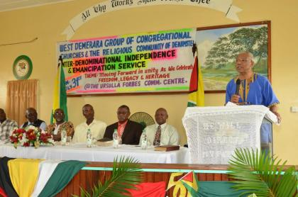 President Granger addressing the congregation at the Den Amstel Ebenezer Congregational Church this morning for the special Independence and Emancipation service.