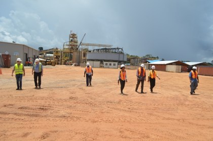 Minister of Natural Resources, Raphael Trotman and team tour Troy Resources, Karouni, Region 7