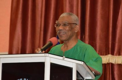 President David Granger addresses the congregation at the Plaisance Glory Light Tabernacle