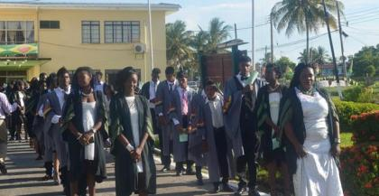 GSA 2016 graduates while doing their walk to the hall for the graduation ceremony