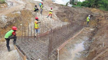 Contractors undertaking rehabilitative works in Mahdia, Region Eight