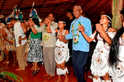 President Granger and Prime Minister Moses Nagamootoo participating in an Indigenous dance this evening at the launch of Indigenous Heritage Month, which was held at the National Exhibition Centre, Sophia.