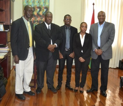 From left: Commissioner and Chief Executive Officer of the Guyana Lands and Surveys Commission, Mr. Trevor Benn, Mr. Glendon Greenidge, Mr. Joshua Benn, Ms. Erica Capell and Minister of State, Mr. Joseph Harmon at the Ministry of the Presidency
