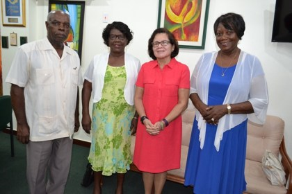 First Lady, Mrs Sandra Granger, is flanked by (from left to right) Pastor Neville Hutchinson, Ms. Yvonne Niales and Pastor Doreen Hutchinson