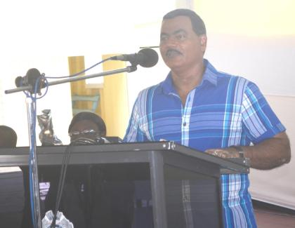 Acting Commissioner of Police, David Ramnarine during his address to members of the Guyana Police Force,  at the Officers' Mess Annexe