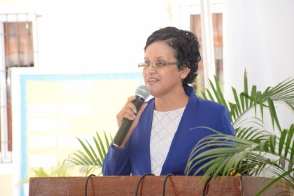 Assistant Chief Education Officer, Nursery, Ingrid Trotman makes remarks at the 40th anniversary of the launch of the Guyana Nursery Education Programme at the Roxanne Burnham Nursery School