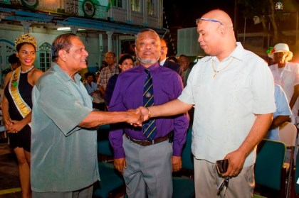 Prime Minister Moses Nagamootoo greets Opposition Member of Parliament, Juan Edghill