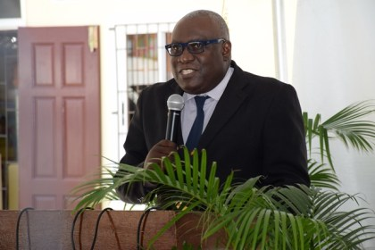 Chief Education Officer (acting) Ministry of Education, Marcel Hutson addressing the launch of the 40th anniversary of the Guyana Nursery Education Programme at the Roxanne Burnham Nursery School