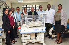 From left to right: representatives from the Georgetown Public Hospital Corporation, Dr. Winsome Scott and Dr. George Norton (in middle), and Senior representatives from Laparkan Shipping Limited Guyana.