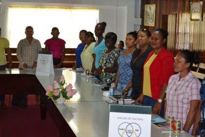 Some of the women who are participating in the Self-Reliance and Success in Business Workshop