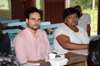 Central Housing and Planning Authority's Senior Community Development Officer Donna Bess-Bascom and Inter-American Development Bank (IDB), Housing and Urban Development Specialist, Patricio Zambrano-Barragán during the meeting with the Sebai village council