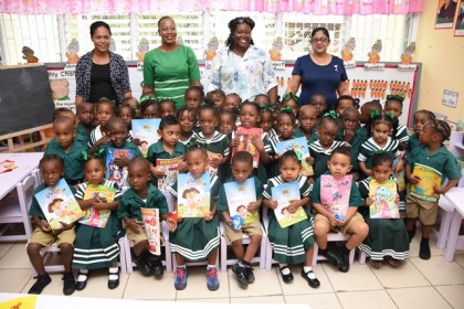 Mrs. Sita Nagamootoo with teachers and pupils at the Selman Fraser Nursery School