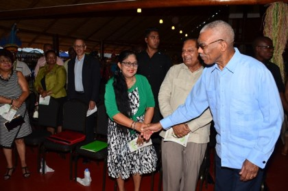 President David Granger greeting Prime Minister Moses Nagamootoo and Wife Mrs. Seeta Nagamootoo at the Launch of Indigenous Heritage Month at the Heritage Village, Sophia Complex
