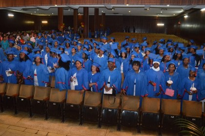 Nurses entering the auditorium of the National Cultural Centre at the beginning of the graduation ceremony.