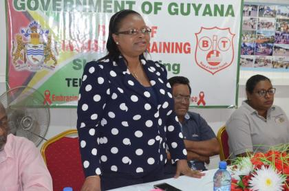 Minister of Social Protection Volda Lawrence addressing the launch of the Board of Industrial Training's (BIT's,) heavy duty equipment operator programme in Mahdia, Region Eight