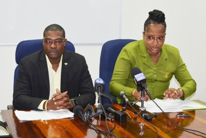 Minister of Public Infrastructure, David Patterson and Minister in the Ministry of Public Infrastructure, Annette Ferguson at the press conference