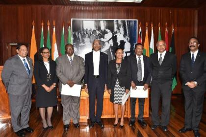 President David Granger with appointed members of the Tribunal as well as other government officials: (from left) Prime Minister, Mr. Moses Nagamootoo, Chief Justice, Mrs. Yonette Cummings-Edwards,  Justice (ret'd) Winston Patterson,  Justice Roxanne George-Wiltshire, Attorney-at-Law, Mr. Robert Ramcharran, Chancellor of the Judiciary, Mr. Carl Singh and Attorney General and Minister of Legal Affairs, Mr. Basil Williams