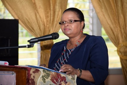 Minister of Social Protection, Volda Lawrence, addressing NGOs and stakeholders at the meeting