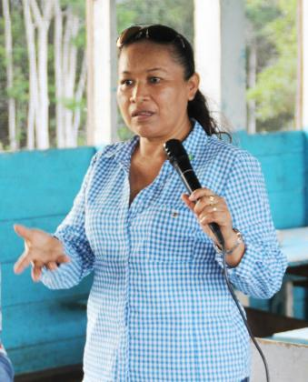 Minister within the Ministry of Communities Dawn Hastings-Williams addressing the meeting in Jawalla