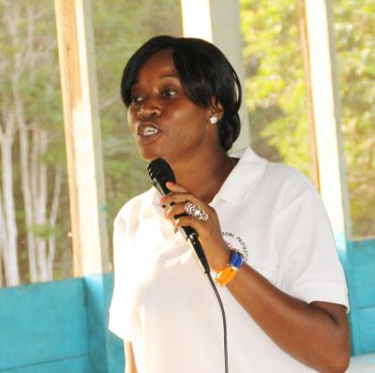Representative of Blossom Incorporated, Tiffany Griffith addressing the meeting in Jawalla