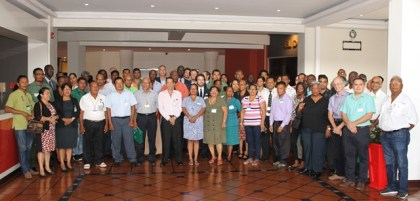 Participants of the EU-FLEGT workshop pose for group photo.